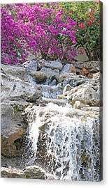 Waterfall Scene Acrylic Print by Becky Lodes