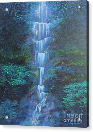 Acrylic Print featuring the painting Waterfall Symphony by Stacey Zimmerman