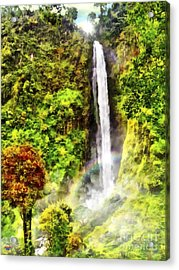 Waterfall Acrylic Print by Vidka Art