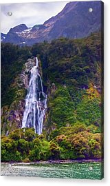 Waterfalls At Milford Sound Acrylic Print