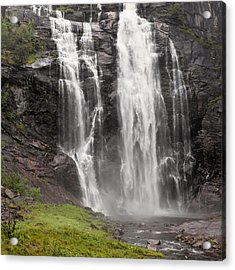 Waterfalls Over A Cliff Norway Acrylic Print by Keith Levit