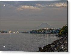 Waterfront Look At Mount Rainier Acrylic Print by Barry Jones