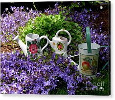Acrylic Print featuring the photograph Watering Cans And Campanula by Tanya  Searcy