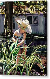 Watering The Onions Acrylic Print by Maureen Dean