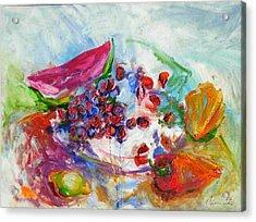 Watermelon And Pepper Acrylic Print by Jelena Cholic