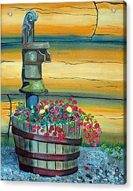 Waterpump And Petunias Acrylic Print by Amy Reisland-Speer
