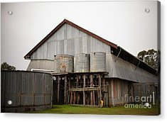 Watertanks And Shed Acrylic Print by Therese Alcorn