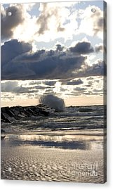 Wave Crashing Into Jetty On Lake Michigan Acrylic Print by Christopher Purcell