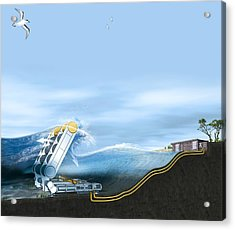 Wave Energy Converter, Artwork Acrylic Print by Claus Lunau