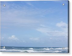 Waves And Sky Acrylic Print by David Freund