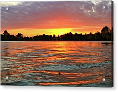 Waves And The Sun Acrylic Print by Mike Stouffer
