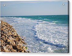 Waves At The Beach Acrylic Print by Carrie Munoz