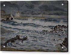 Waves On The Pier Acrylic Print by Rob Hemphill
