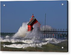 Waves Over The Grand Haven Outer Light Acrylic Print