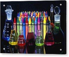 Wax Crayons And Measuring Flasks Acrylic Print by David Chapman