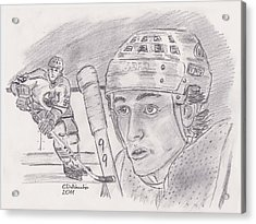 Acrylic Print featuring the drawing Wayne Gretzky-the Great One by Chris  DelVecchio