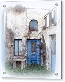 Weathered Greek Building Acrylic Print by Carla Parris