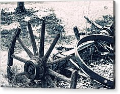 Weathered Wagon Wheel Broken Down Acrylic Print