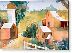 Acrylic Print featuring the painting Webster Barn by Yolanda Koh