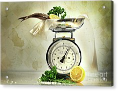 Weight Scale With Fish  Acrylic Print by Sandra Cunningham