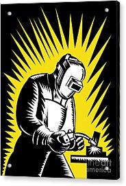 Welder Metal Worker Welding Retro  Acrylic Print by Aloysius Patrimonio