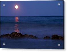 Wells Beach Maine Moonrise Acrylic Print by Glenn Gordon