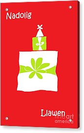 Acrylic Print featuring the digital art Welsh Merry Christmas Red by Barbara Moignard