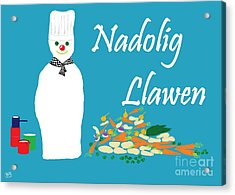 Acrylic Print featuring the digital art Welsh Snowman Chef by Barbara Moignard