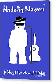 Acrylic Print featuring the digital art Welsh Snowman Musician by Barbara Moignard