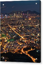 West Hongkong At Night Acrylic Print by Coolbiere Photograph