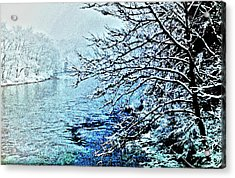 West River Snow Acrylic Print