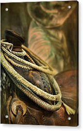 Western Style Saddle And Cowboy Acrylic Print by Melinda Moore