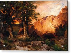 Western Sunset Acrylic Print by Thomas Moran