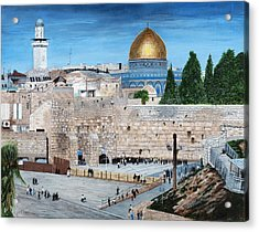 Acrylic Print featuring the painting Western Wall by Stuart B Yaeger