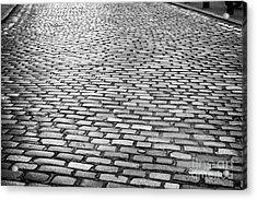 Wet Cobblestoned Huntly Street In The Union Street Area Of Aberdeen Scotland Acrylic Print by Joe Fox