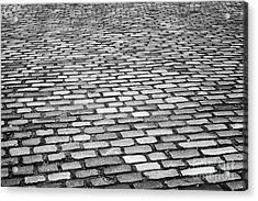 Wet Cobblestoned Huntly Street In The Union Street Area Of Aberdeen Scotland Uk Acrylic Print by Joe Fox