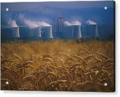 Wheat Fields And Coal Burning Power Acrylic Print