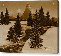 When It Snowed In The Mountains Acrylic Print by Barbara Griffin