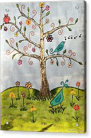 Acrylic Print featuring the painting Whimsical Tree by Elizabeth Coats