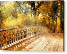 Whispers On A Bridge Acrylic Print by Georgiana Romanovna