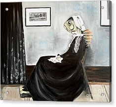 Whistler's Mother As A Fish Acrylic Print by Ellen Marcus