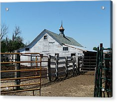 White Barn  And Corrals Acrylic Print by Bobbylee Farrier