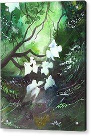 White Begonia Acrylic Print by Anil Nene