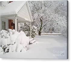 White Blanket Acrylic Print by Donna Cavender