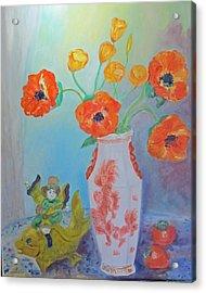 White China Vase With Poppies Acrylic Print