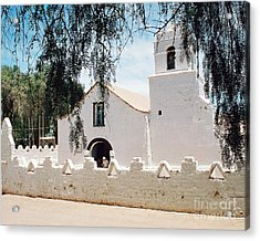 White Church In Chile Acrylic Print by Trude Janssen