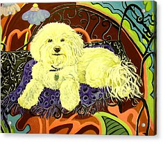 White Dog In Garden Acrylic Print by Patricia Lazar