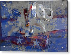 White Elephant Ride Abstract Acrylic Print by Garry Gay