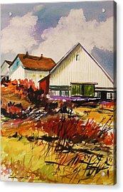 White Farm-spring Acrylic Print by John Williams