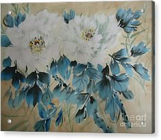 Acrylic Print featuring the painting White Flower by Dongling Sun
